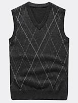 preiswerte -Herren Kurz Pullover-Alltag Freizeit Solide Geometrisch V-Ausschnitt Ärmellos Polyester Winter Herbst Undurchsichtig Mikro-elastisch