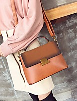 Women Bags PU Shoulder Bag Buttons for Casual All Season Dark Brown Brown Black