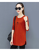 cheap -Women's Daily Casual Fall T-shirt,Print Round Neck Long Sleeve Polyester Medium