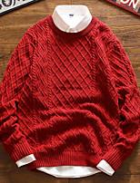 preiswerte -Herren Standard Pullover-Ausgehen Solide Rundhalsausschnitt Langarm Polyester Winter Herbst Dick Mikro-elastisch