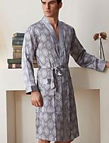 abordables -Satin & Soie Pyjamas Homme,Fleur Moyen Polyester Marron Gris