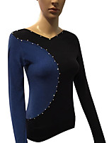 cheap -Figure Skating Top Women's Girls' Ice Skating Top Blue Spandex Stretchy Performance Practise Skating Wear Solid Long Sleeves Ice Skating