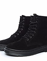 cheap -Women's Shoes Cowhide Spring Fall Comfort Combat Boots Boots Flat Heel Booties/Ankle Boots for Casual Black