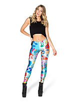 cheap -Women's Retro Cotton Bamboo Fiber Opaque Print Legging,Print Blue