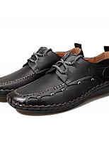 Недорогие -Муж. обувь Искусственное волокно Весна Осень Удобная обувь Туфли на шнуровке для Повседневные Черный Коричневый Темно-коричневый Вино