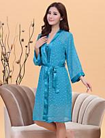 abordables -Costumes Vêtement de nuit Femme,Col en V Points Polka-Transparent Soie Bleu Rouge Rose Claire