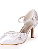 preiswerte -Damen Schuhe Seide Frühling Sommer Pumps Hochzeit Schuhe Stöckelabsatz Peep Toe Schleife für Hochzeit Party & Festivität Elfenbein