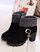 cheap -Women's Shoes Nubuck leather Winter Fall Comfort Bootie Boots Chunky Heel for Casual Red Black