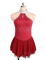 cheap -Figure Skating Dress Women's Girls' Ice Skating Dress Royal Blue Red Spandex Stretchy Skating Wear Sequin Sleeveless Figure Skating