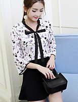 cheap -Women's Casual/Daily Street chic Blouse,Floral V Neck ¾ Sleeve Polyester
