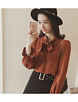cheap -Women's Others Street chic Shirt,Solid Stand Long Sleeves Polyester