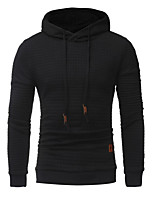 cheap -Men's Daily Casual Hoodie Solid Hooded Inelastic Cotton Long Sleeve Spring