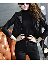 cheap -Women's Daily Casual Winter Leather Jacket,Solid V Neck Long Sleeve Long PU Oversized