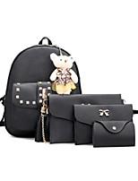 preiswerte -Damen Taschen PU Polyester Bag Set 4 Stück Geldbörse Set Perlenstickerei Reißverschluss für Normal Alle Jahreszeiten Weiß Schwarz Grau