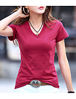 cheap -Women's Daily Casual Summer T-shirt,Print V Neck Short Sleeve Cotton Opaque