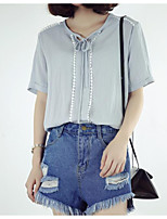 cheap -Women's Daily Wear Vintage Shirt,Solid Hollow-out Round Neck Half Sleeves Cotton