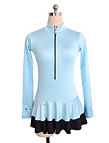cheap -Figure Skating Top Women's Girls' Ice Skating Top Sky Blue Spandex Stretchy Performance Practise Skating Wear Solid Long Sleeves Ice