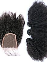 Недорогие -Бразильские волосы Афро Квинки Ткет человеческих волос 4шт Волосы Уток с закрытием