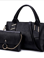 economico -Donna Sacchetti PU (Poliuretano) Poliestere sacchetto regola Set di borsa da 2 pezzi Cerniera per Casual Tutte le stagioni Nero Rosso