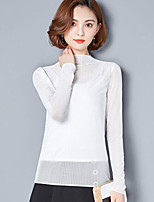 cheap -Women's Others Street chic T-shirt,Solid Round Neck Long Sleeves Polyester