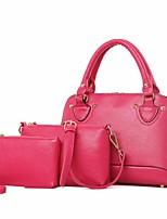 cheap -Women's Bags PU Bag Set 3 Pcs Purse Set Zipper for Casual Outdoor Spring Fall Blue Black Red Blushing Pink Fuchsia