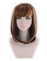 cheap -Synthetic Hair Wigs Straight Wavy Highlighted/Balayage Hair Bob Haircut Capless Lolita Wig Natural Wigs Cosplay Wig Brown