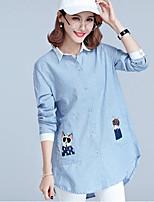 cheap -Women's Daily Going out Casual Fall Shirt,Striped Print Shirt Collar Long Sleeve Cotton Thin