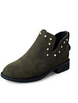 preiswerte -Damen Schuhe Nubukleder Frühling Herbst Komfort Stiefeletten Stiefel Blockabsatz Booties / Stiefeletten für Normal Schwarz Armeegrün