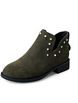 baratos -Feminino Sapatos Pele Nobuck Primavera Outono Conforto Curta/Ankle Botas Salto Robusto Botas Curtas / Ankle para Casual Preto Verde Tropa