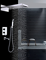 cheap -Contemporary Wall Mounted Waterfall Rain Shower Handshower Included Ceramic Valve Two Handles Four Holes Chrome, Shower Faucet