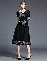 cheap -MAXLINDY Women's Party Going out Vintage A Line Sheath DressSolid Print V Neck Midi Long Sleeve Cotton Polyester Winter Fall High Waist Inelastic