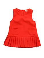 cheap -Girl's Daily Holiday Solid Dress,Polyester Nylon Spring Fall Sleeveless Cute Casual Princess Red Green