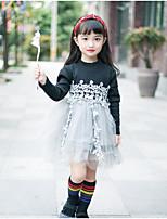 preiswerte -Mädchen Kleid Alltag Ausgehen Solide Blumen Druck Baumwolle POLY Frühling Herbst Langarm Einfach Niedlich Aktiv Schwarz