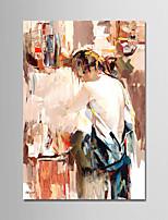 Недорогие -Ручная роспись Люди Вертикальная, Modern холст Hang-роспись маслом Украшение дома 1 панель