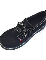preiswerte -Damen Schuhe PU Frühling Komfort Outdoor Walking Flacher Absatz Runde Zehe für Normal Schwarz Beige
