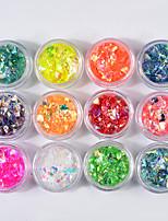 economico -12 pezzi Brillante Natale Con lustrini Multicolore Nail Art Design