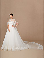 cheap -Short Sleeves Lace Tulle Wedding Party / Evening Women's Wrap With Applique Lace Capes