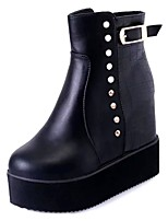 cheap -Women's Shoes PU Spring Fashion Boots Boots Low Heel Round Toe Mid-Calf Boots Rivet for Casual Black