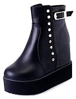 preiswerte -Damen Schuhe PU Frühling Modische Stiefel Stiefel Niedriger Heel Runde Zehe Mittelhohe Stiefel Niete für Normal Schwarz