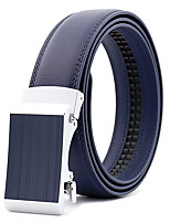 cheap -Men's Leather Alloy Waist Belt,Black Brown Blue Party Work Casual Solid Metal Pure Color