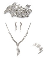 preiswerte -Damen Haarkämme Braut-Schmuck-Sets Strass Europäisch Modisch Hochzeit Party Diamantimitate Aleación Geometrische Form Linienform