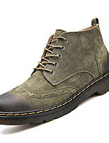 cheap -Men's Shoes Cowhide Leather Winter Fall Combat Boots Comfort Boots Mid-Calf Boots for Casual Gray Brown Green