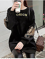 cheap -Women's Party To-Go Vintage Cute T-shirt,Solid Letter Round Neck Long Sleeves Cotton Polyester
