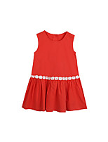 cheap -Girl's Solid Dress Summer Sleeveless Cute Casual Orange