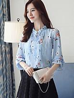 Недорогие -Для женщин На выход Весна Блуза V-образный вырез,Уличный стиль С принтом Длинные рукава,Полиэстер,Средняя