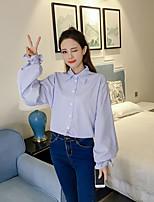 Недорогие -Для женщин На каждый день Рубашка Рубашечный воротник,Изысканный Полоски Длинный рукав,Хлопок ШАМБРЕ