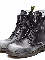 cheap -Men's Shoes Cowhide Spring Fall Combat Boots Boots Mid-Calf Boots for Outdoor Black Gray Brown