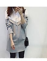 cheap -Women's Casual/Daily Simple Shirt Dress,Color Block Shirt Collar Above Knee Long Sleeve Cotton Others Fall Mid Rise Micro-elastic Thick