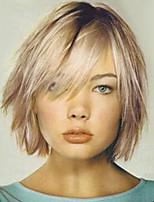 cheap -Human Hair Capless Wigs Human Hair Straight Layered Haircut Dark Roots Ombre Hair Medium Machine Made Wig