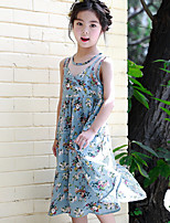 cheap -Girl's Daily Print Dress,Polyester Summer Sleeveless Cute Blue
